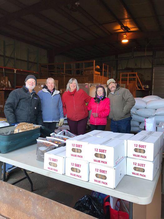 2019 Bird Seed Sale Pick Up Day at VP Supply: Andy Mason, Dorian Huneke, Susan O'Handley, Kate O'Handley, Jeff O'Handley.