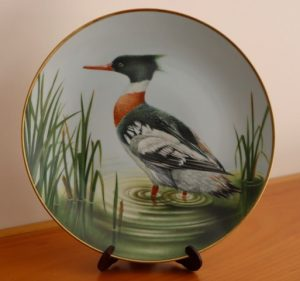 "Red-breasted Merganser Decorative Plate (9.5"" diameter), donated by Janice Downie. (Front)"