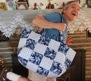 Extra-large Quilted Tote Bag, created and donated by Julie Wexler.